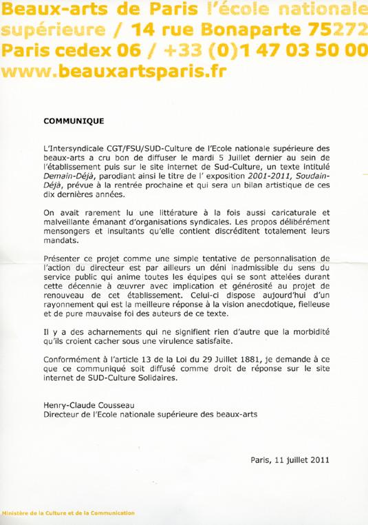 Droit de réponse de Henry-Claude Cousseau