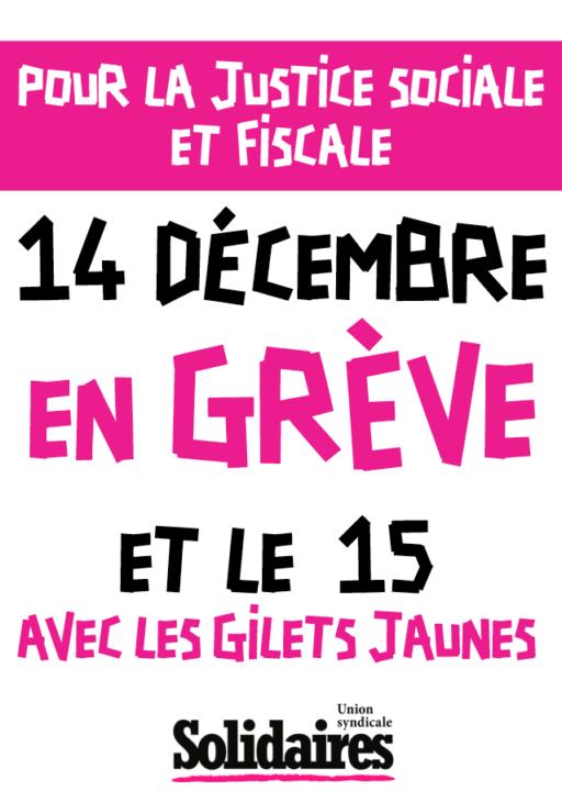 14 décembre en grève et le 15 avec les gilets jaunes portrait