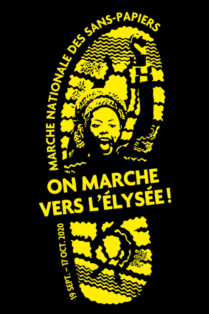 """Logo de la marche des solidarités, une femme le poing levé et la bouche ouverte pour crier dans une empreinte de pas, avec le slogan """"On marche vers l'Elysée! """"."""