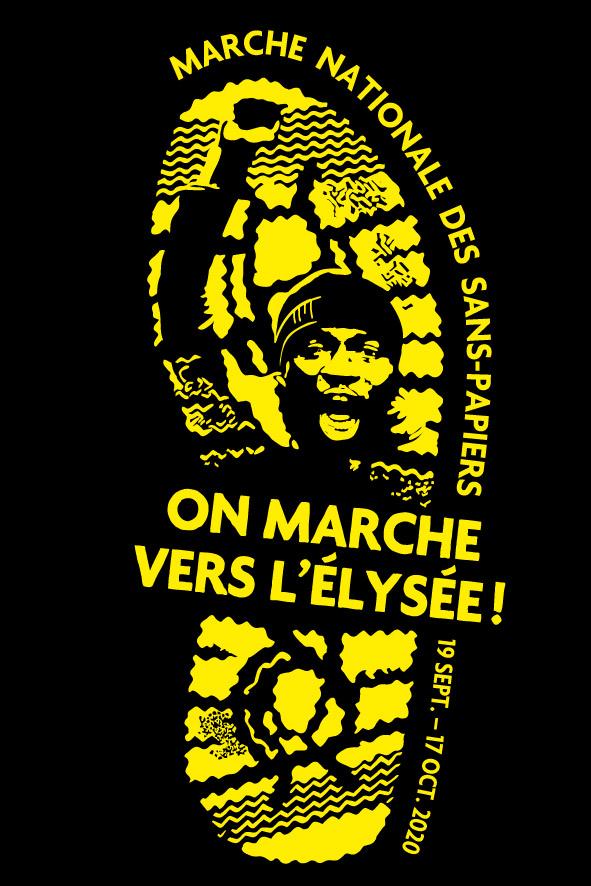 """Logo de la marche des solidarités, un homme le poing levé et la bouche ouverte pour crier dans une empreinte de pas, avec le slogan """"On marche vers l'Elysée! """"."""