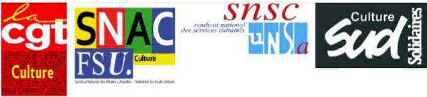 logos de la CGt Culture, du SNAC FSU Culture, du SNSC UNSA, et de Sud Culture Solidaires.
